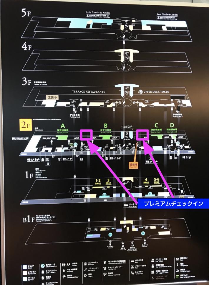 羽田空港国内線のビルのフロアマップです。