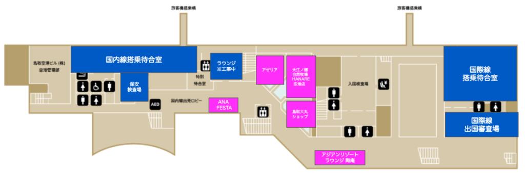 鳥取空港の2階飲食店フロア概要