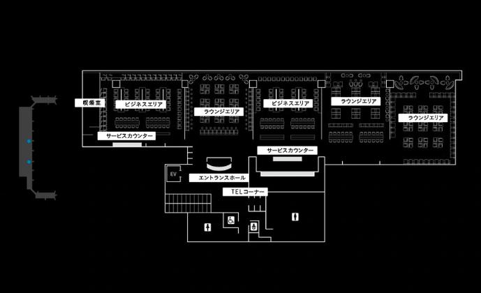 ANAホームページに掲載されている羽田空港国内線のANAラウンジ内部の写真です。