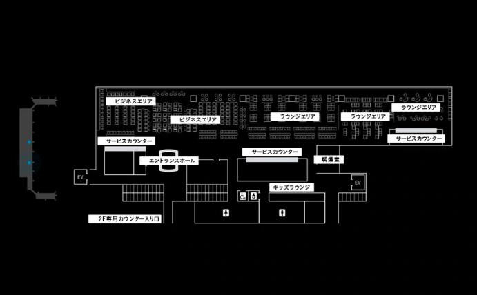 ANAのホームページに掲載されている羽田空港国内線のANAラウンジフロア図です。