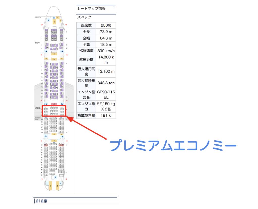 ANAプレミアムエコノミー座席位置の画像