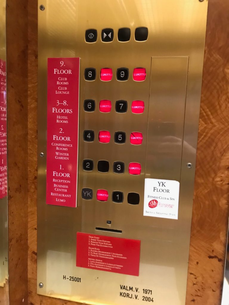 Crowne Plaza Helsinki のエレベーター