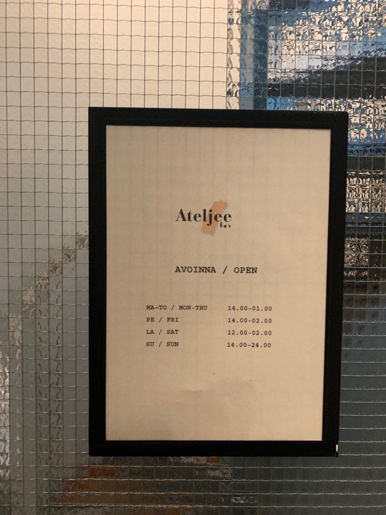 ヘルシンキのアテリエ・バーの営業時間