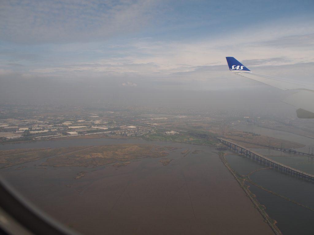 スカンジナビア航空(SK903)から見たニューヨークの景色