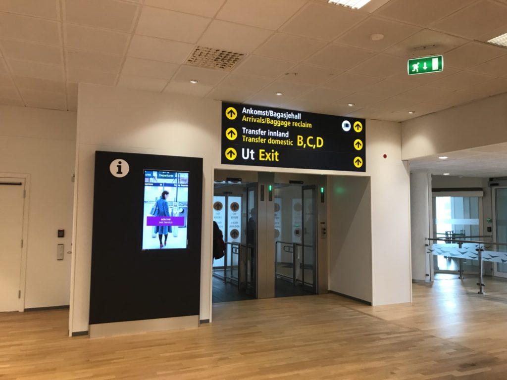 ベルゲン空港の到着ロビー近辺