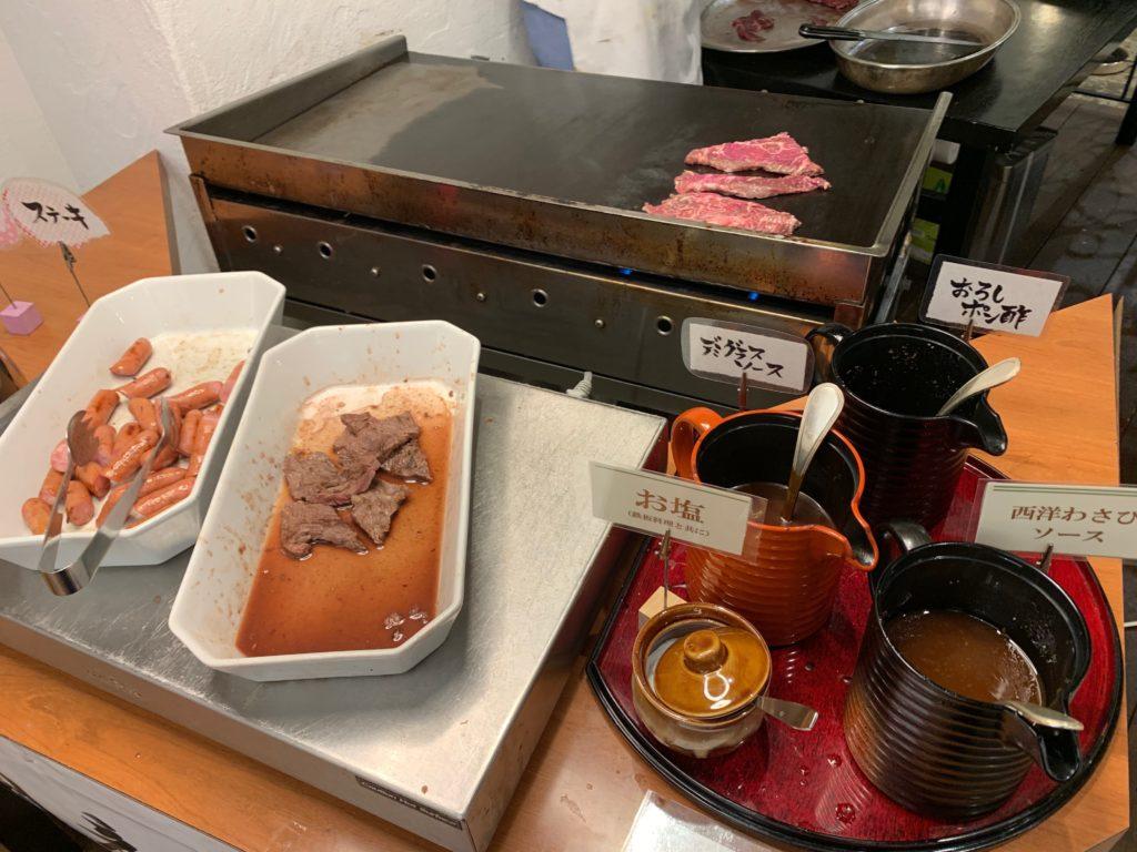 ホテルプラザ神戸のレストラン「カフェ マ・メール」の「国産牛ステーキバイキング」の国産牛ステーキ