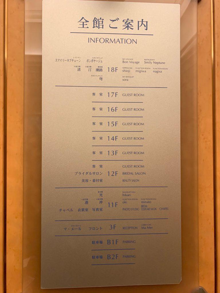 ホテルプラザ神戸のエレベーターにあるフロアガイド