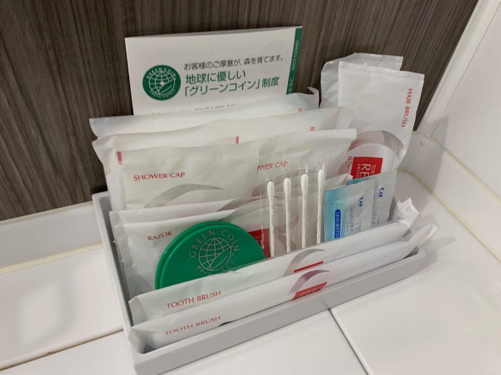 吉祥寺東急REIホテルのダブルルームのアメニティ