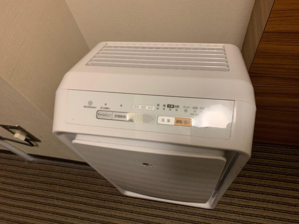 吉祥寺東急REIホテルのダブルルームの空気清浄機