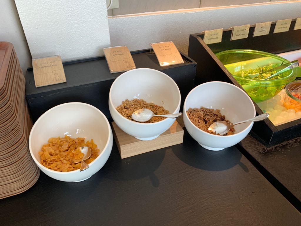 ホテルフランクスの14階の朝食ブッフェ会場の料理