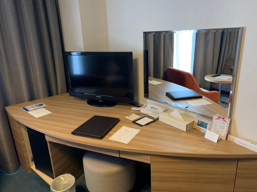 びわ湖大津プリンスホテルのスカイフロアツインルーム内のテレビ
