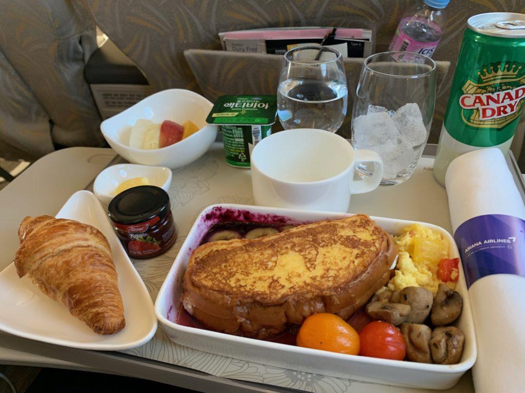 アシアナ航空OZ331(仁川→北京)のビジネスクラスの機内食(朝ごはん)