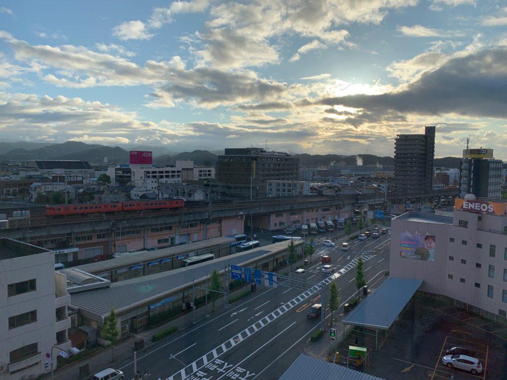 ホテルニューオータニ鳥取のツインルームからの鳥取市内の眺望