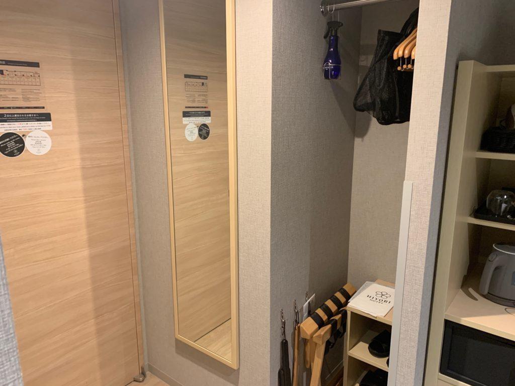 銀座  露天の湯  日和ホテル東京銀座EASTの客室のクローゼット