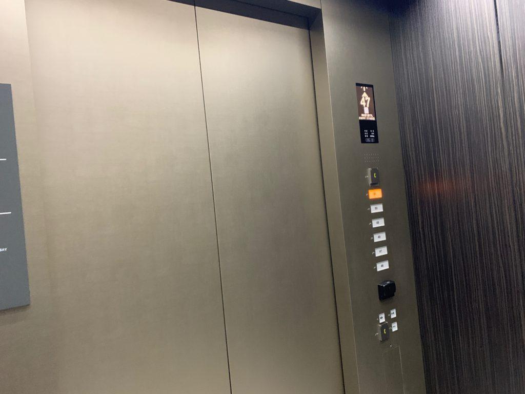 オークウッドスイーツ横浜の客室へのエレベーター