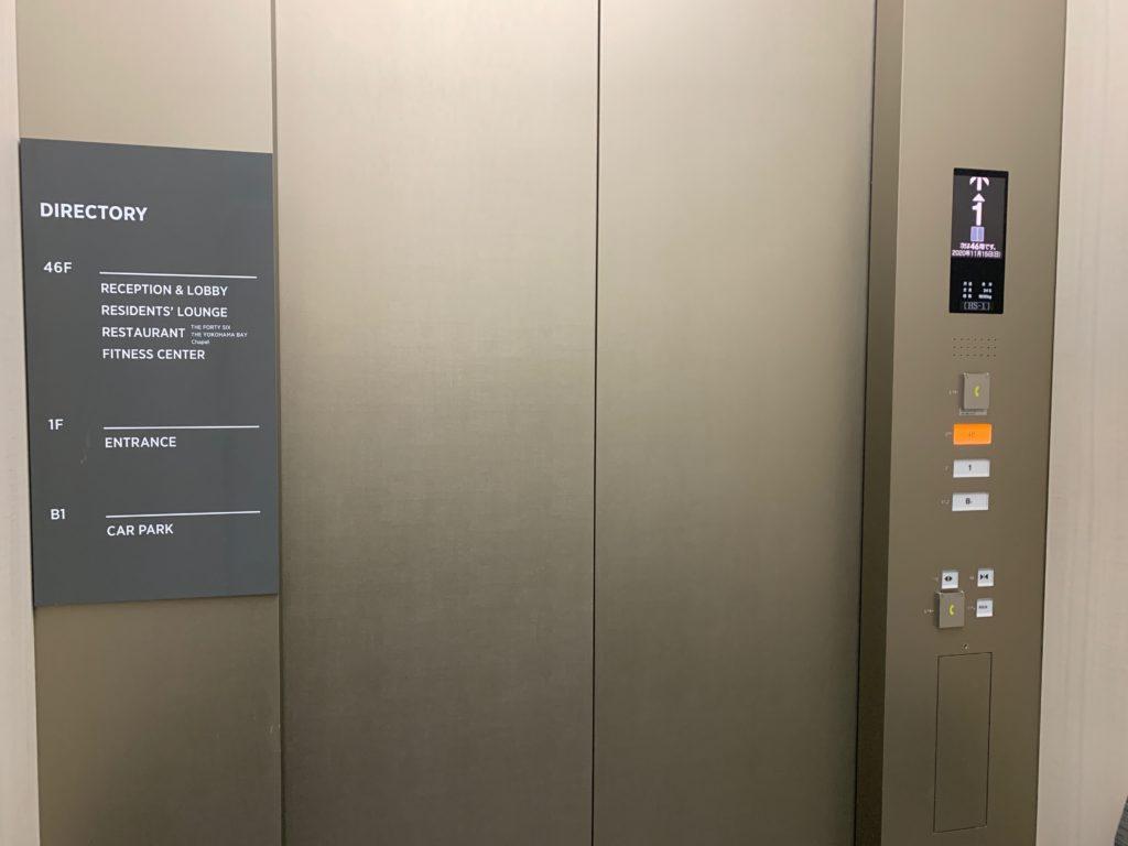 オークウッドスイーツ横浜のエレベーター