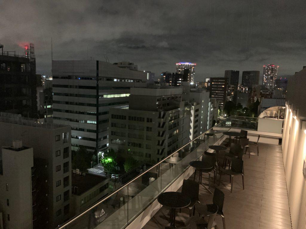 銀座  露天の湯  日和ホテル東京銀座EASTの最上階のスカイテラス