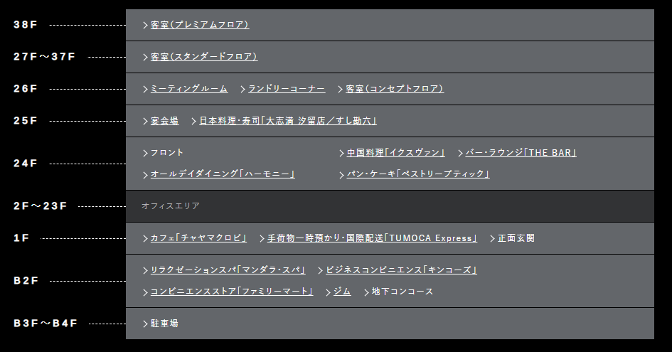 ザ ロイヤルパークホテル アイコニック 東京汐留の館内案内図