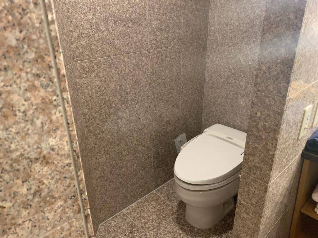 セルリアンタワー東急ホテルのコーナーキングルームのビューバスのトイレ